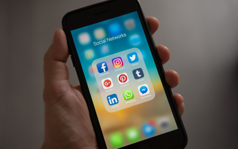 zoomed in image of social media apps on an iphone