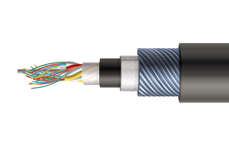side view of a fibre optic cable