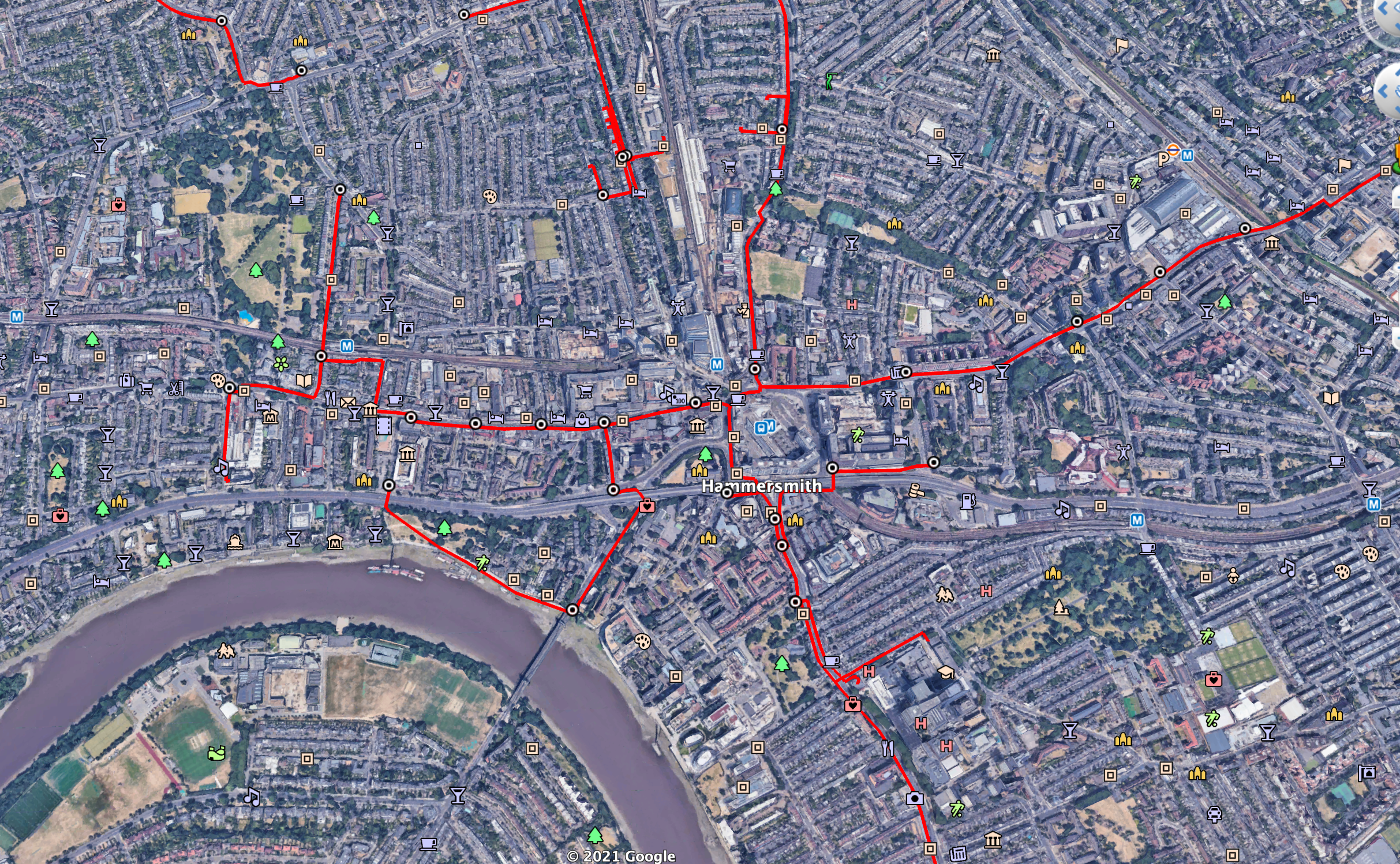 Hammersmith overhead view of network highlighted in red