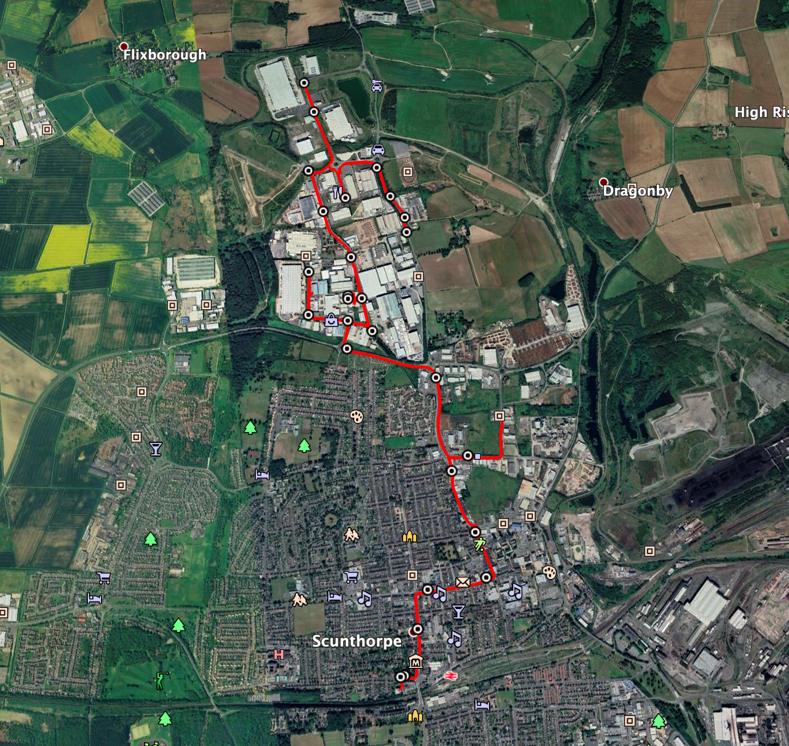 aerial map view of scunthorpe network highlighted in red