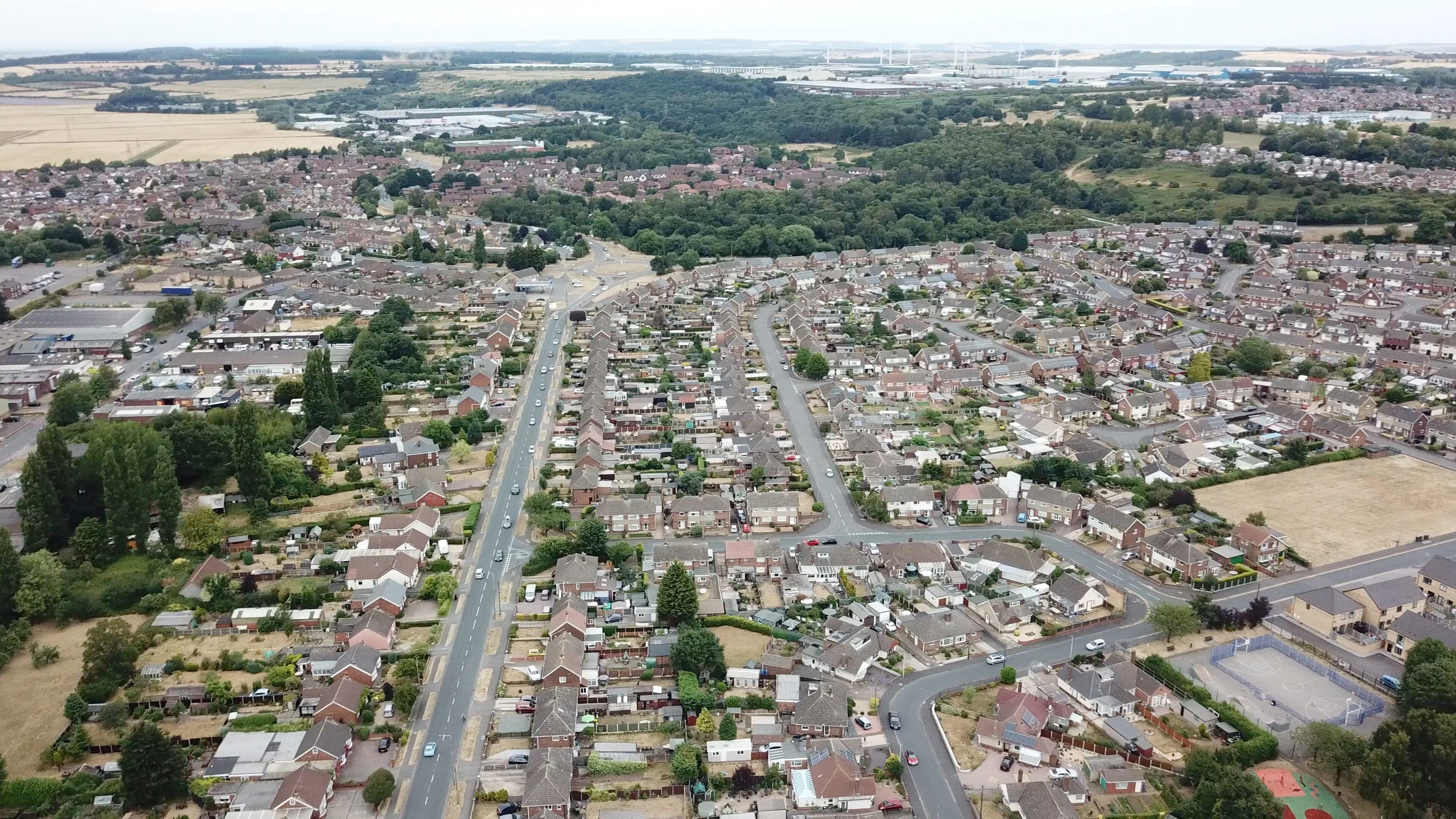 overhead view of scunthorpe during the day