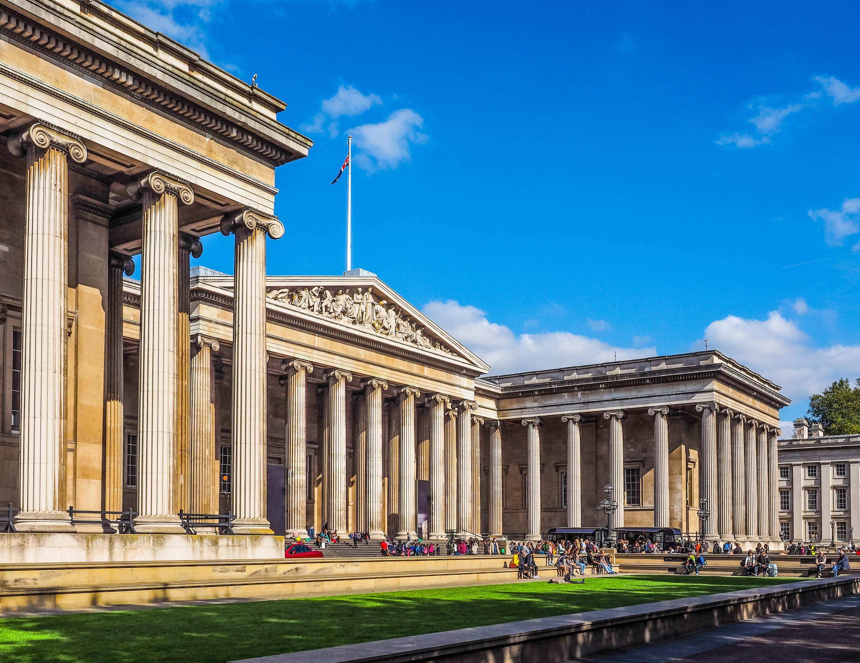 the British Museum London with blue sky