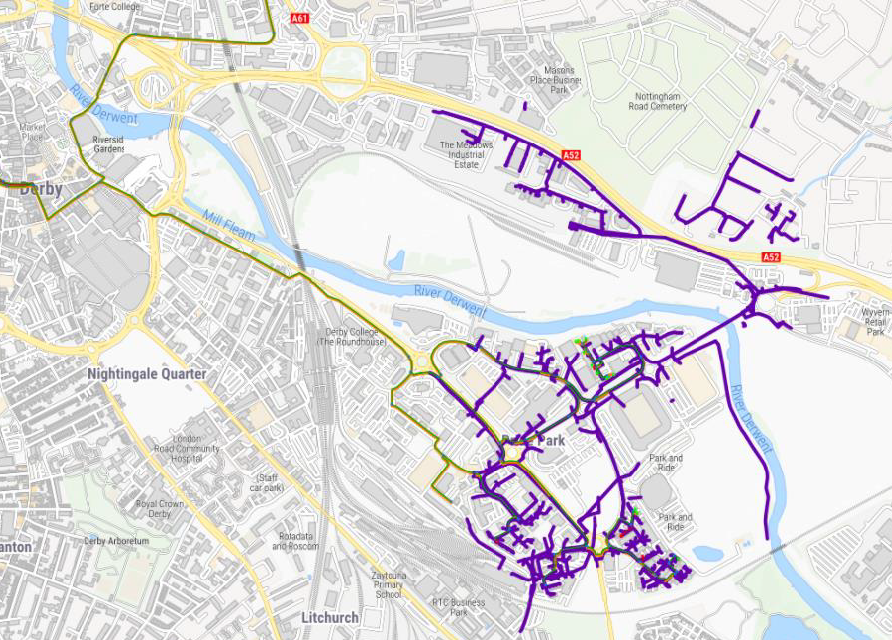 Derby full fibre network highlighted in purple