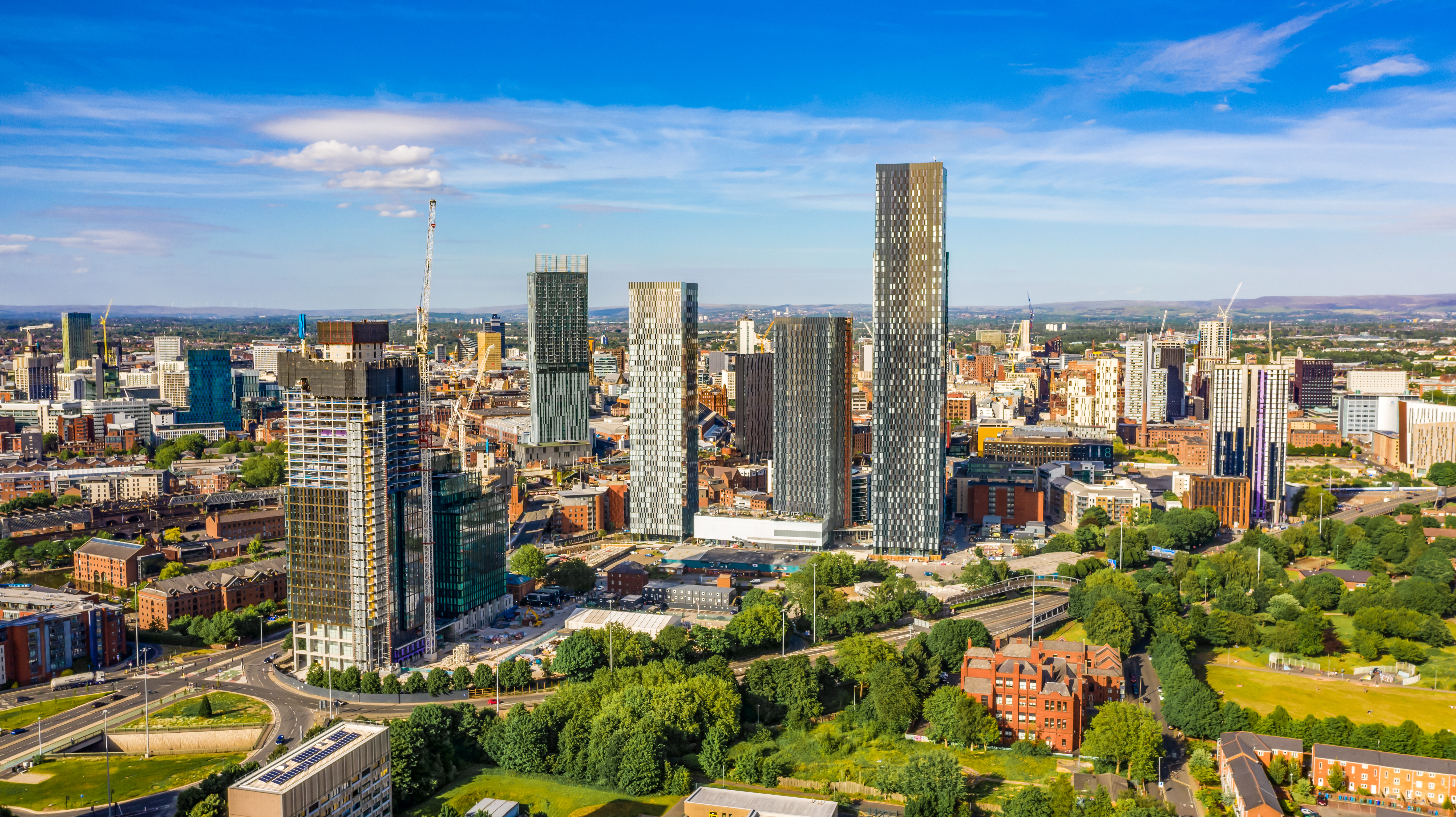 Manchester city centre aerial view