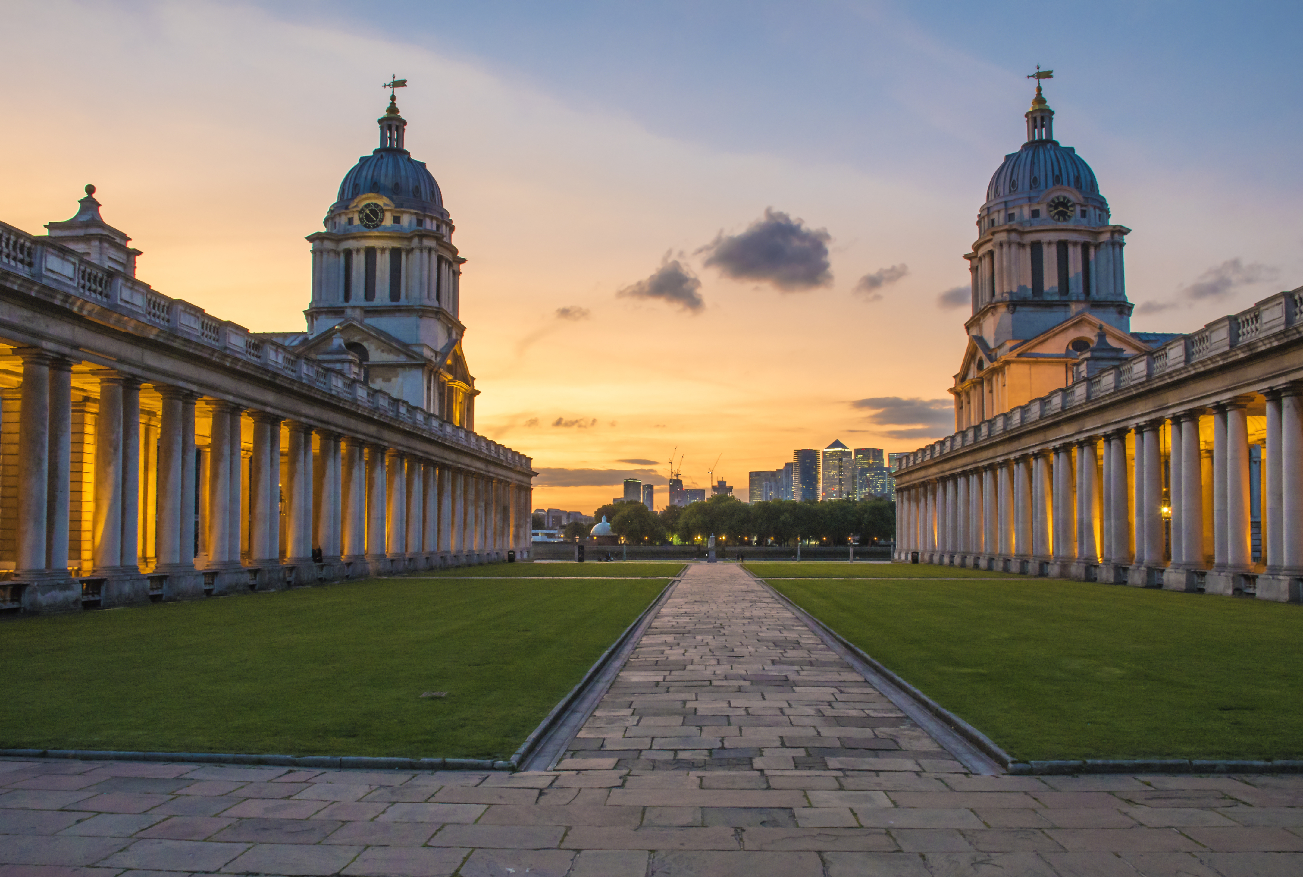 Greenwich old navel college at sunset